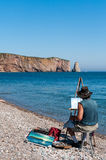 Landscape painter at Perce Stock Photos