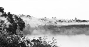 A landscape painting. Black and white royalty free stock images
