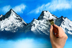 Landscape painting being created royalty free stock photos