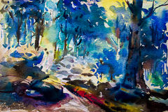 Landscape painting colorful of trees in forest autumn trees. Stock Photography