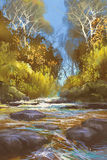 Landscape painting of creek in forest Royalty Free Stock Photography