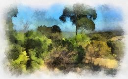Landscape Painting. Painting of landscape found in Anstey Hill Recreation Park Tee Tree Gully stock image