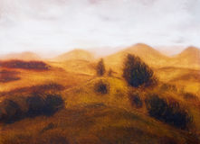 Landscape painting. Miscellaneous and trees.   Mountains in the background. Stock Photo