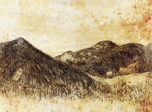 Landscape painting and mountain  on old paper background. Stock Image