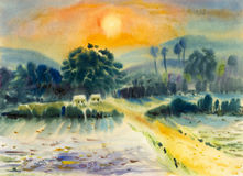 Landscape painting on paper colorful of cottage, fields, mountains. Royalty Free Stock Image
