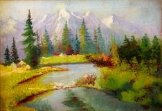 Landscape painting. River and miscellaneous and trees. Snow cove Stock Image