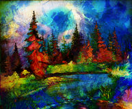 Landscape painting. River and miscellaneous and Stock Photography