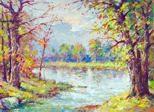 Landscape painting -  river flowing through the forest Stock Photography
