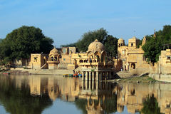 Palace on lake in Jaisalmer India Stock Photography