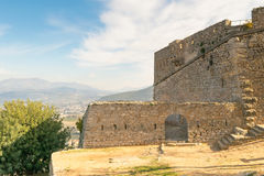 Landscape of Palamidi castle at Nafplio in Greece against the old city. Stock Photography
