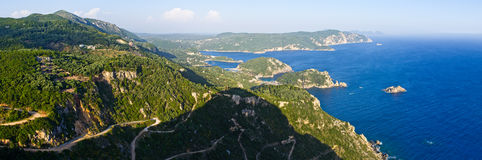 Landscape with Paleokastritsa bay on Crofu, Greece Stock Photos
