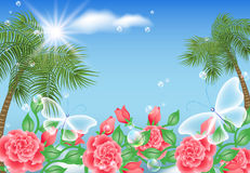 Landscape with palm and butterflies Royalty Free Stock Photos