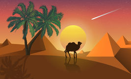 Landscape of palm and camel on a background of desert pyramids Stock Photography