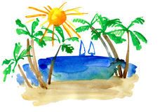 Landscape with palm and sailfish Stock Images