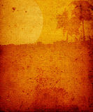 Landscape with palm-trees. And moon on brown old textured paper stock illustration