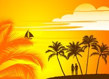 Landscape with palm trees. Evening landscape in golden tones with palm trees Stock Photos