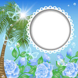 Landscape with palm trees, flowers and transparent Stock Image