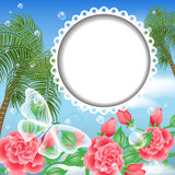 Landscape with palm trees, flowers and transparent Stock Images