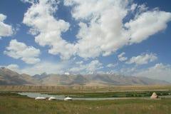 Landscape on the Pamirs Plateau. Taxkorgan, Kashgar, Xinjiang, China Stock Photo