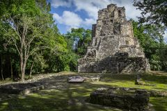 Landscape panorama of Ancient Maya temple complex in Muil & x28;Chuny stock photo