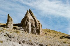 Landscape panorama caucasus mountain with autumn hills pencil. Landscape panorama caucasus mountain with autumn hills daytime pencil Stock Images