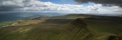 Landscape panorama of Cribyn summit from Pen-y-Fan mountain in B Royalty Free Stock Photography