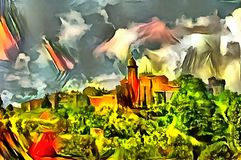 Landscape panorama interpretation in the style of surrealism. Landscape interpretation in the style of surrealism Royalty Free Stock Photos