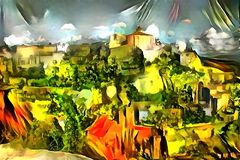 Landscape panorama interpretation in the style of surrealism. Landscape interpretation in the style of surrealism Stock Images