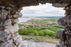 Landscape panorama of the lake, Palava Czech republic.  Royalty Free Stock Images