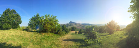 Landscape panorama , meadow, trees and hill Royalty Free Stock Photo