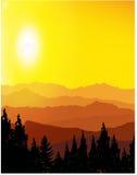 Landscape. Panorama of mountains. Sunset Stock Photos