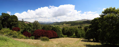 Landscape panorama. From Muncaster Castle in Ravenglass, Cumbria, Lake District Stock Photos