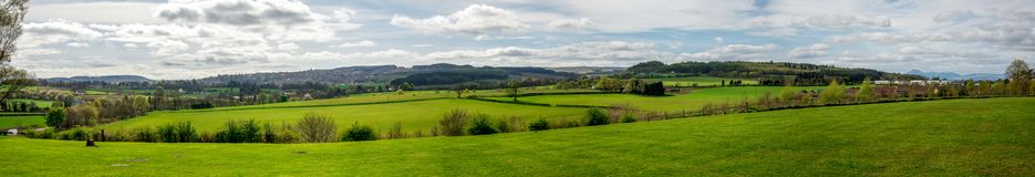 Landscape panorama near the Battle of Bannockburn visitor centre. Central Scotland Royalty Free Stock Images
