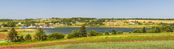 Landscape panorama of Prince Edward Island Canada. Panoramic landscape view of bay near Cavendish, Prince Edward Island, Canada Stock Photography