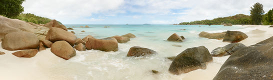 Landscape Panorama Seychelles lagoon sea horizontal background Stock Photo
