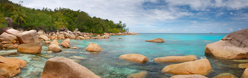 Landscape Panorama Seychelles lagoon sea horizontal background Royalty Free Stock Image
