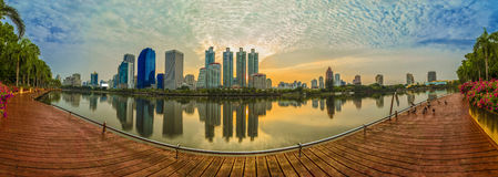 Landscape panorama skyscraper business district at dawn sky, bea. Utiful water reflection Stock Photo