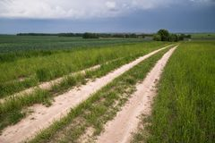 Road in the field, stormy sky stock photo