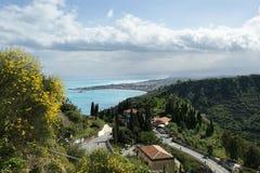 Landscape panorama taormina sicily italy Stock Images