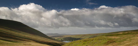 Landscape panorama view from climb up Corn Du mountain in Brecon Stock Photo