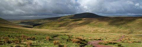 Landscape panorama view from climb up Corn Du mountain in Brecon Royalty Free Stock Photo