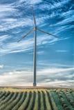 Landscape panorama with wind turbine Stock Photos