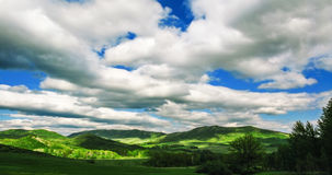 Landscape. Panoramic mountain landscape with clouds in blue sky Stock Photography