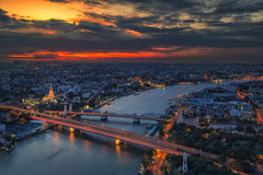 Landscape panoramic Temple of the Dawn - Wat Arun Royalty Free Stock Photo