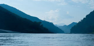 Landscape panoramic view of Mekong river Royalty Free Stock Image