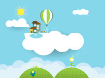 Landscape paper cut-fantasy home on cloud. Illustration landscape paper cut-fantasy home sweet home ; sky with sun and cloud.Blank space for design Royalty Free Stock Images