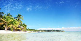Landscape of paradise tropical island beach with perfect sunny s Royalty Free Stock Photo