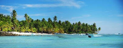 Landscape of paradise tropical island beach with perfect sunny s Stock Photo