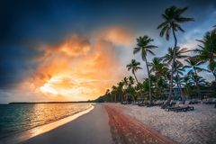 Landscape of paradise tropical island beach, Punta Cana resort Stock Images