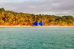 Landscape of paradise tropical island with palms and white sand beach. tourist spot in Asia Philippines Stock Photo
